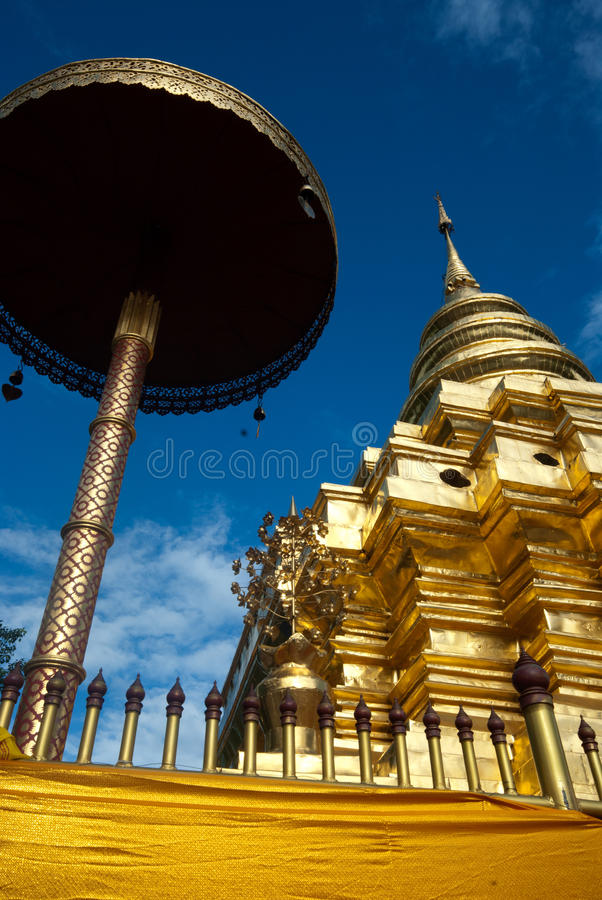 Golden ancient pagoda in Thailand . stock images