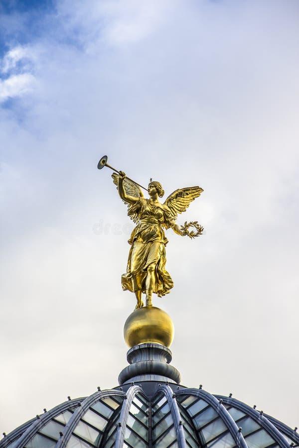 Golden Angel of Dresden stock image