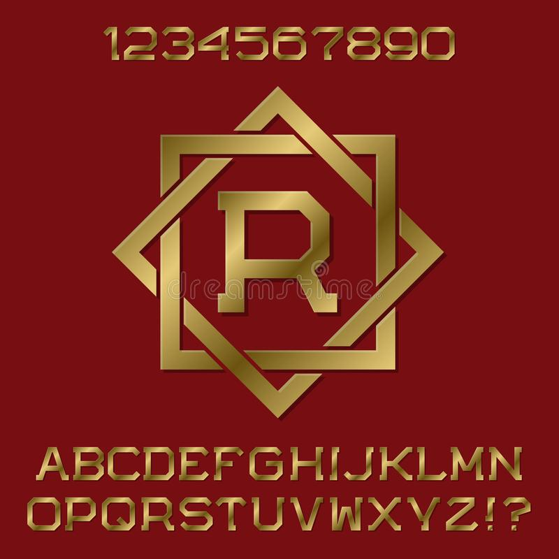 Free Golden Angular Letters And Numbers With Initial Monogram In Octagonal Frame Stock Images - 101453984
