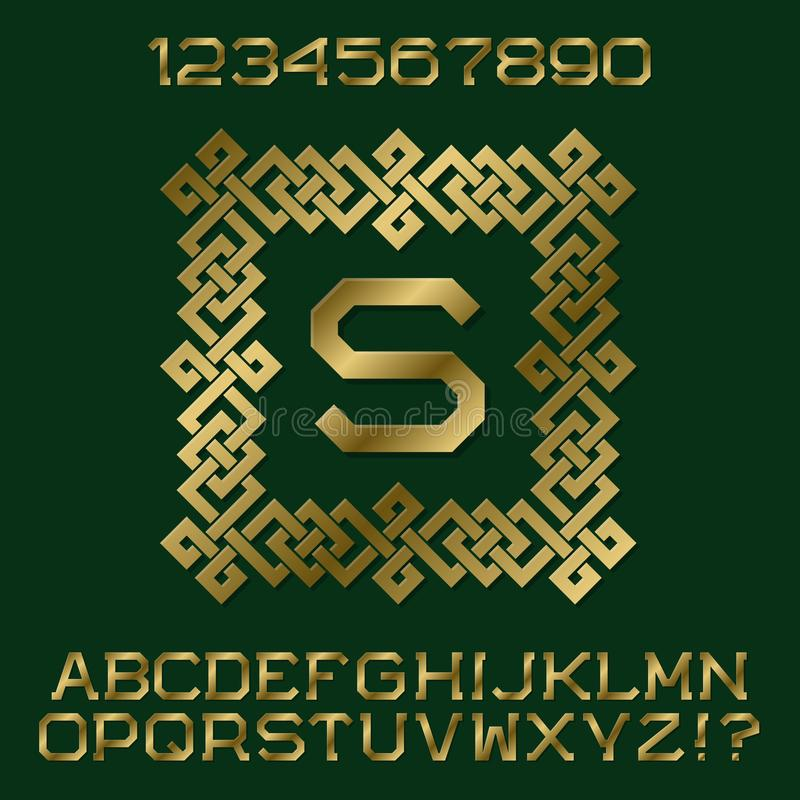 Golden Angular Letters And Numbers With Initial Monogram In ...