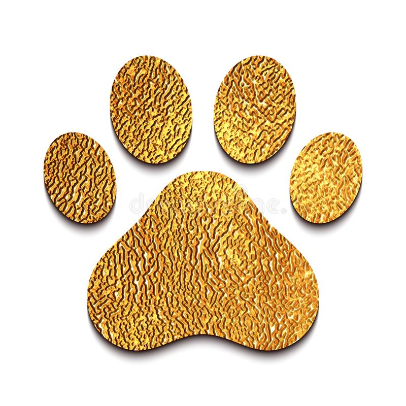 Golden animal paw print vector illustration
