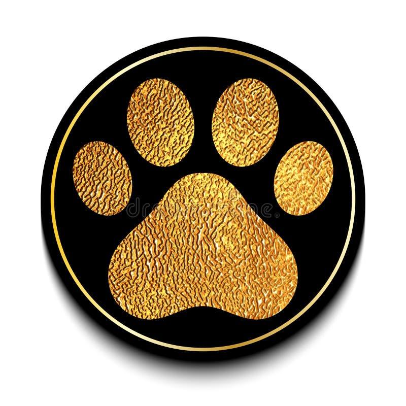 Golden animal paw print stock illustration