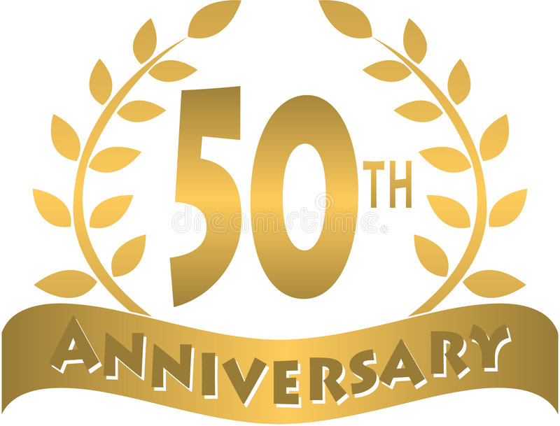 Golden anniversary banner/eps. Logo for a 50th or golden anniversary of a marriage or business...eps file available. 25th or silver also available in my
