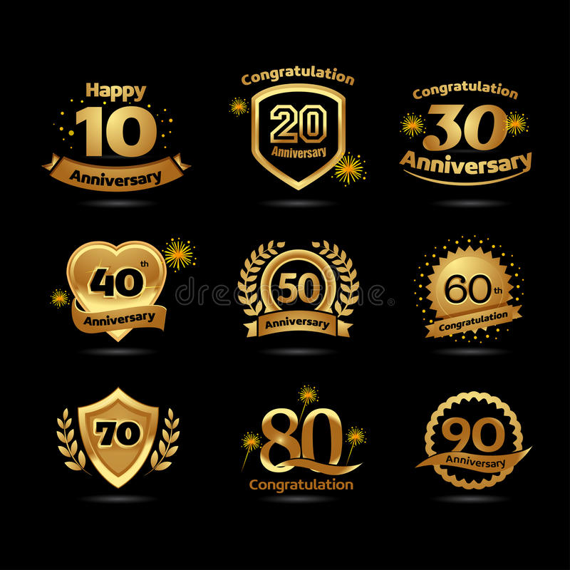Golden Anniversary happy holiday festive celebration emblems set with ribbons isolated vector illustration. Black background. vector illustration