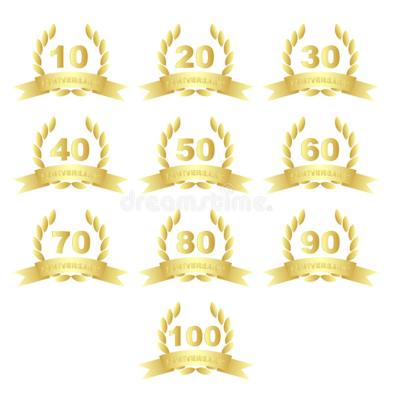Download Golden anniversary icons stock vector. Image of collection - 31939095