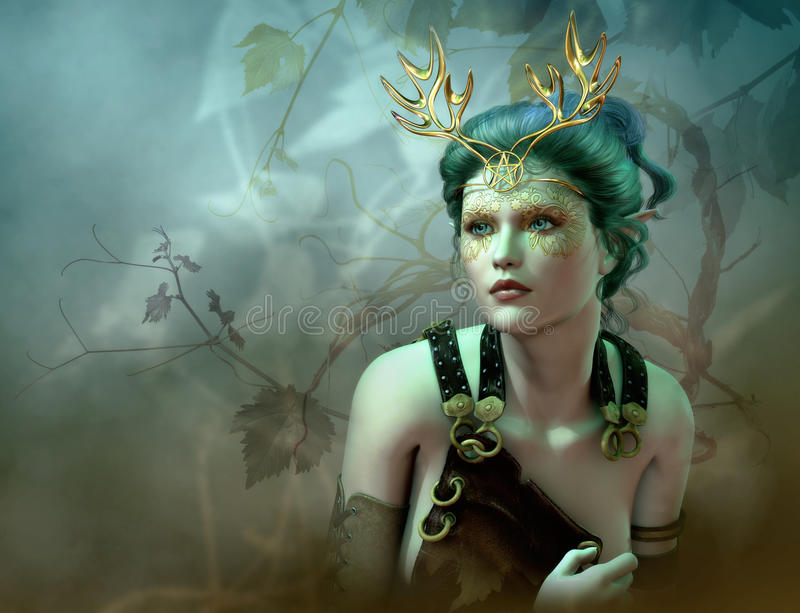 The Golden Antlers Portrait, 3d CG. 3D computer graphics of a girl with a golden antlers as headdress and vines in the background royalty free illustration