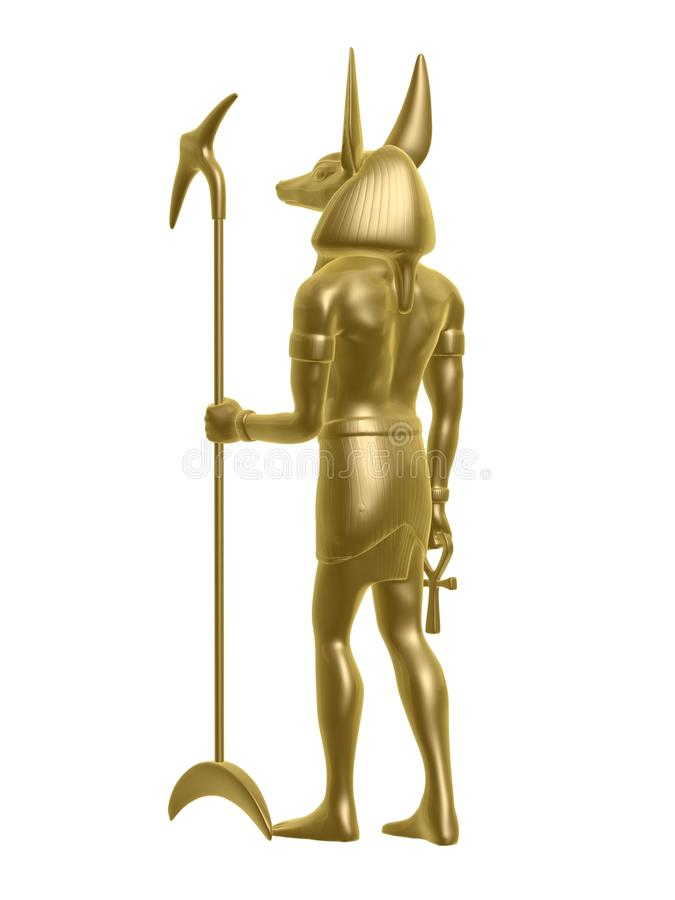 Golden anubis. Golden Egypt anubis guard back isolated on white background royalty free stock images