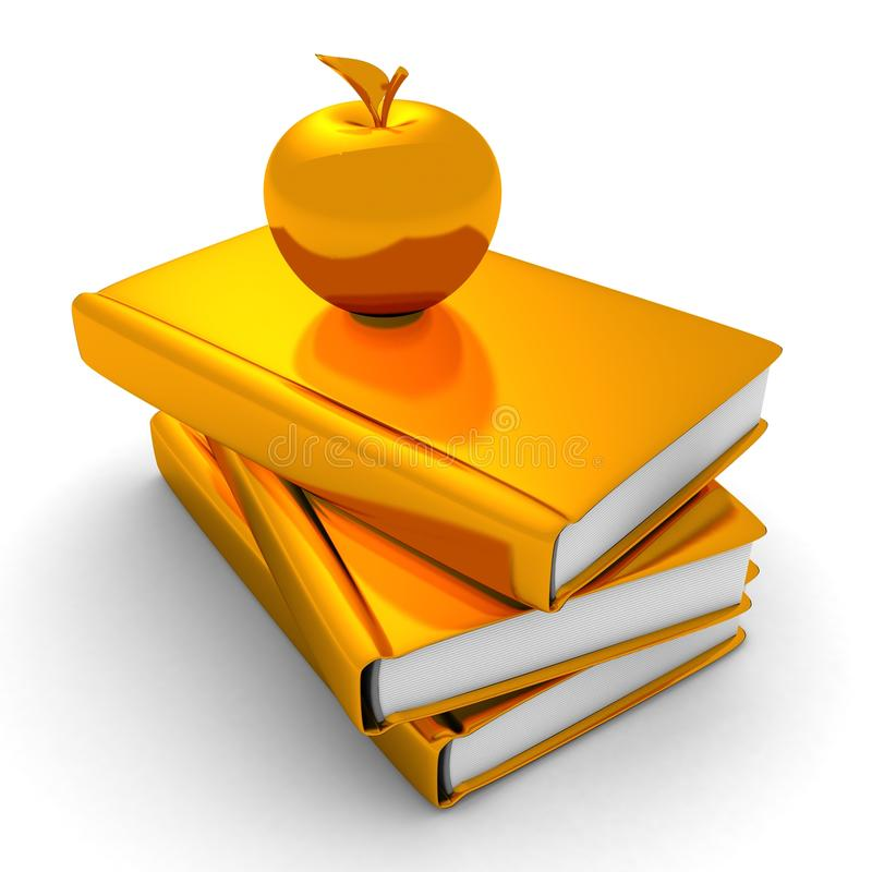 Golden apple on stack of books. education concept royalty free illustration
