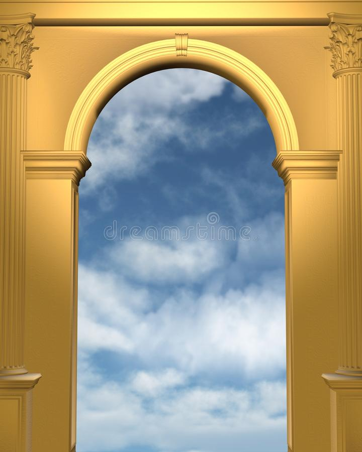 Golden Archway With Blue Sky Stock Illustration - Illustration of ...