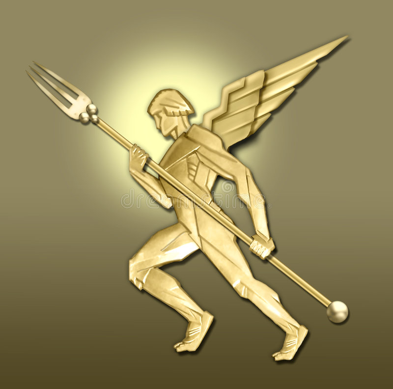 Golden art deco angel w/fork royalty free illustration