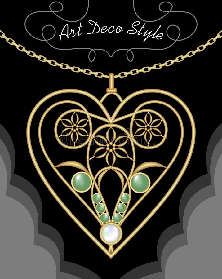 Golden art deco filigree necklace, pendant in heart shape with flowers and green gems on fine golden chain, antique gold stock illustration