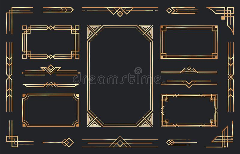 Golden art deco ornaments. Arabic antique decorative gold border, retro geometric ornamental frame and ornate golden. Corners. Geometry deco label, old royalty free illustration