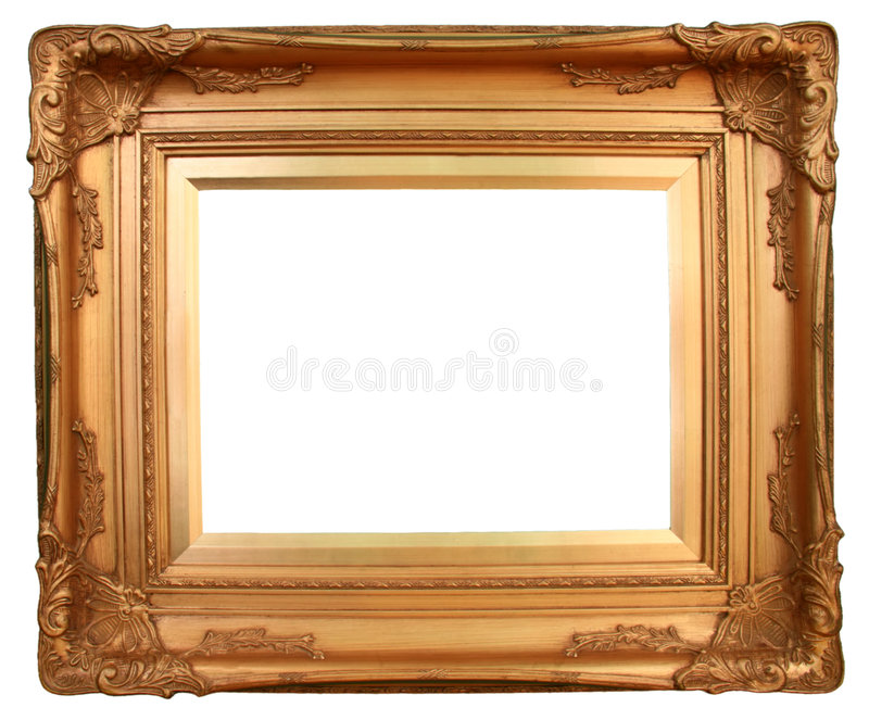 Golden Art Frame. Gilded gold frame ready for your insertion royalty free stock photos