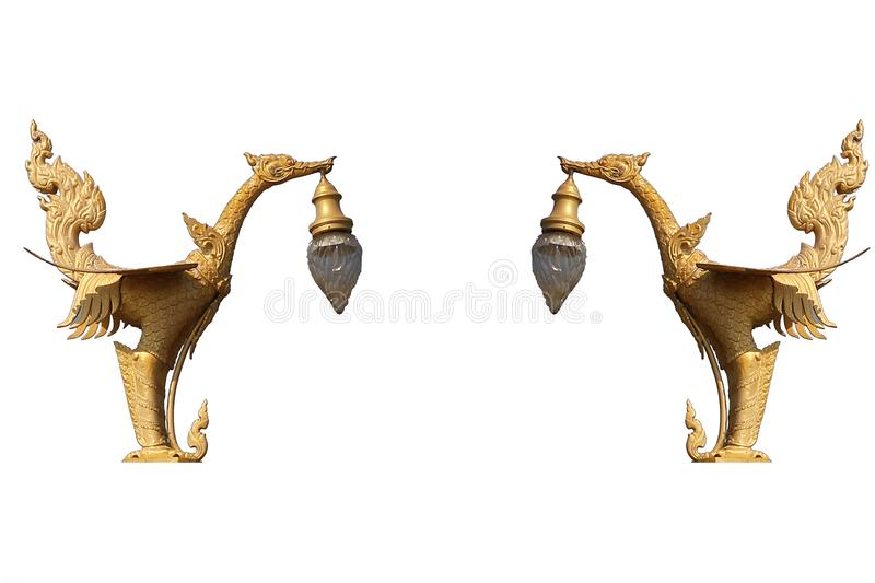 Golden art mystery bird, Lantern hanger designed swan statue isolated in white background, Traditional ancient unique style stock photo