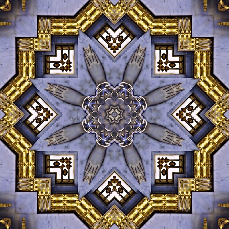 Golden art nouveau pattern  seen through kaleidoscope. Digital art design, details of a art nouveau pattern  seen through a kaleidoscope royalty free illustration