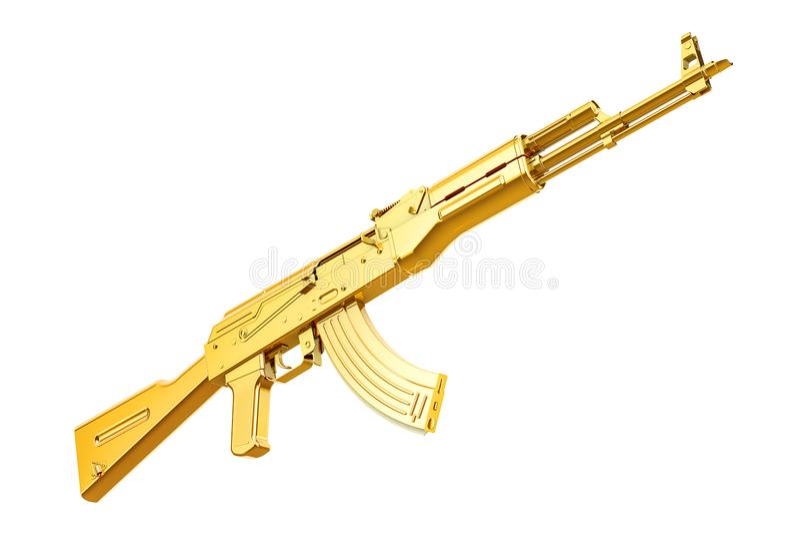 Golden assault rifle, 3D rendering vector illustration
