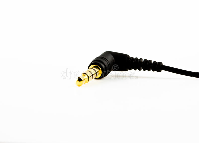Golden Audio Jack Isolate Stock Images