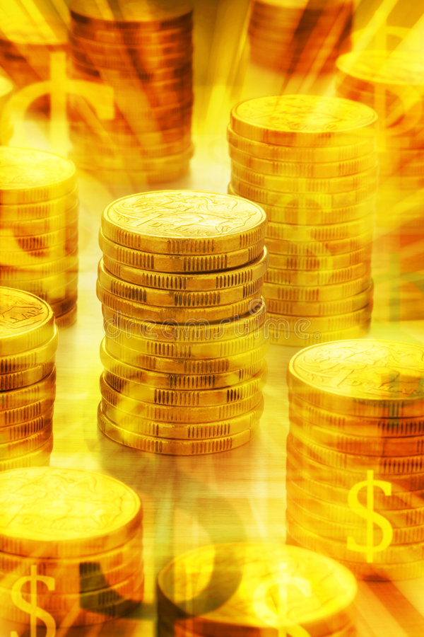 Golden Australian Money Background. Stacks of Australian one dollar coins with golden glowing light and money symbols royalty free stock image