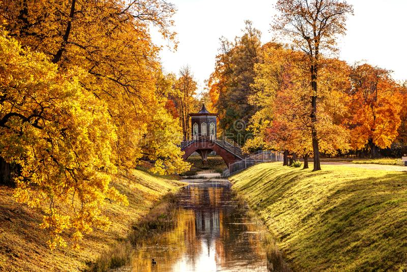 Golden autumn in Alexander Park near Tsarskoye Selo. The city of Pushkin, Leningrad region. View of the Cross Bridge. On the river with beautiful autumn trees stock image