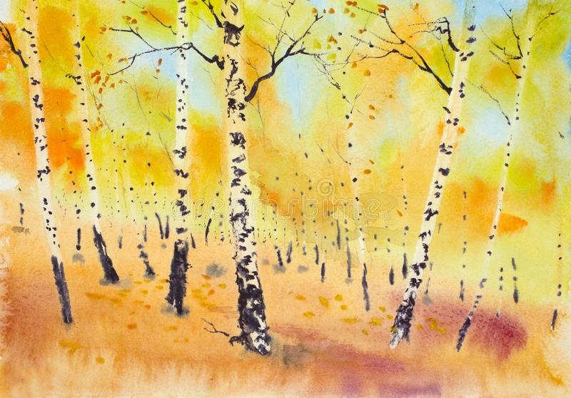 Golden autumn in a birch grove. Bright golden autumn in a birch grove royalty free illustration