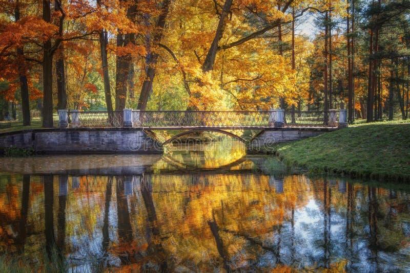 Golden Autumn in Catherine Park, Tsarskoye Selo. The city of Pushkin, Leningrad region. Metallic bridge. With reflections in the water on a bright sunny day royalty free stock photos