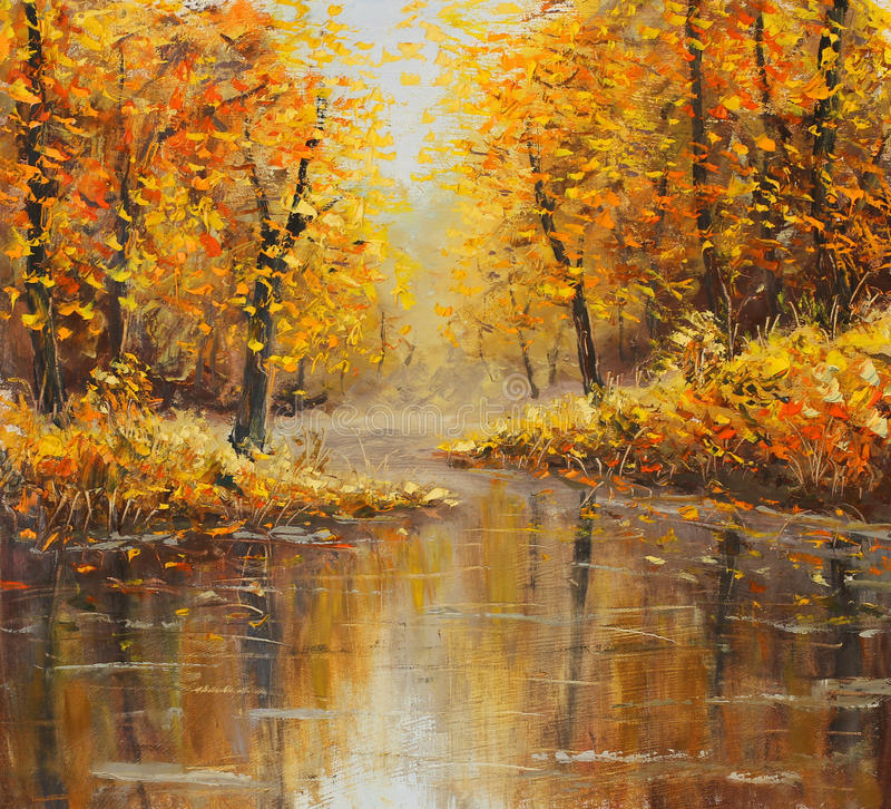 Golden autumn in river. Yellow oil painting. Art. Original yellow oil painting autumn island seascape, beautiful autumn on canvas. Golden autumn in foggy river royalty free stock photos