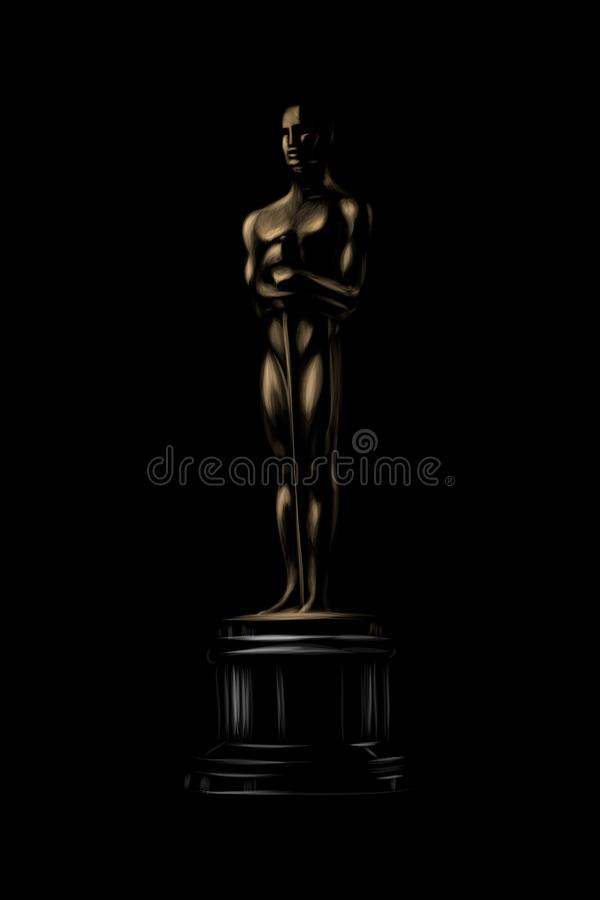 Golden award or trophy. Academy award icon on a black background royalty free illustration