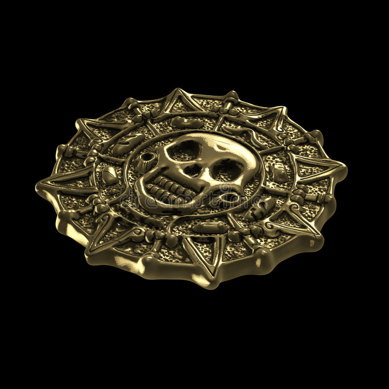 Golden aztec pirate coin. On black background stock illustration