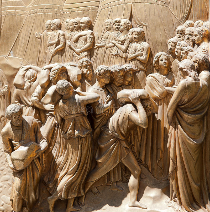 Golden ba-reliefs in Florence. Golden bareliefs from the main cathedral in Florence, Italy stock photos