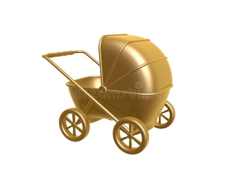 Download Golden baby carriage stock illustration. Image of born - 22598289