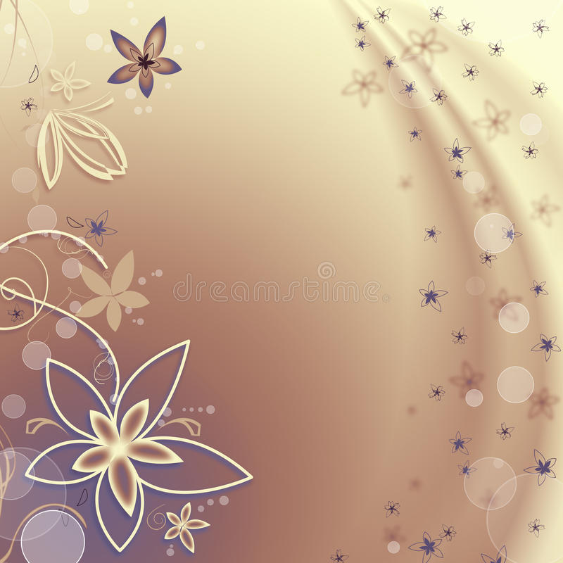 Download Golden Background With Flowers And Bubbles Stock Illustration - Image: 17295835