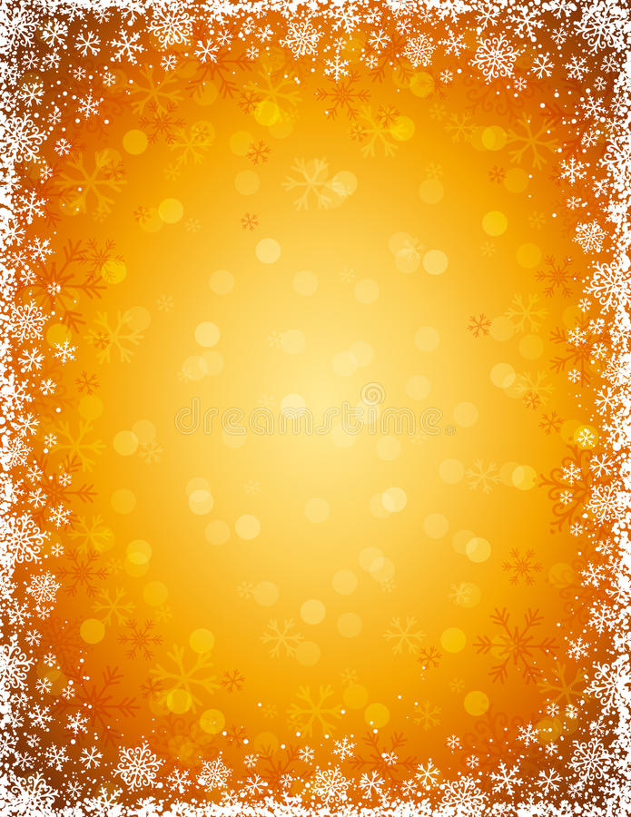 Download Golden Background With  Frame Of Snowflakes, Vecto Stock Vector - Image: 34641880