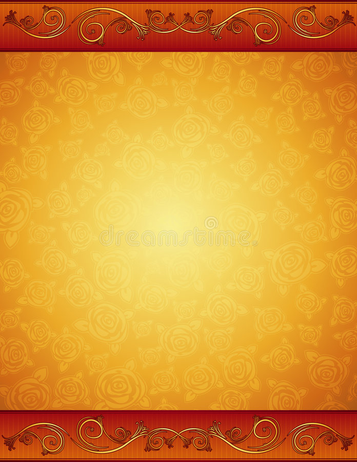 Download Golden Background With Roses Stock Vector - Illustration of graphic, flower: 5674156
