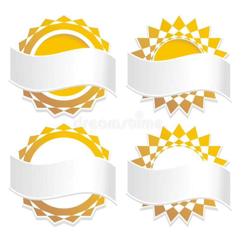 Golden Badge Icons With Banners Stock Photos