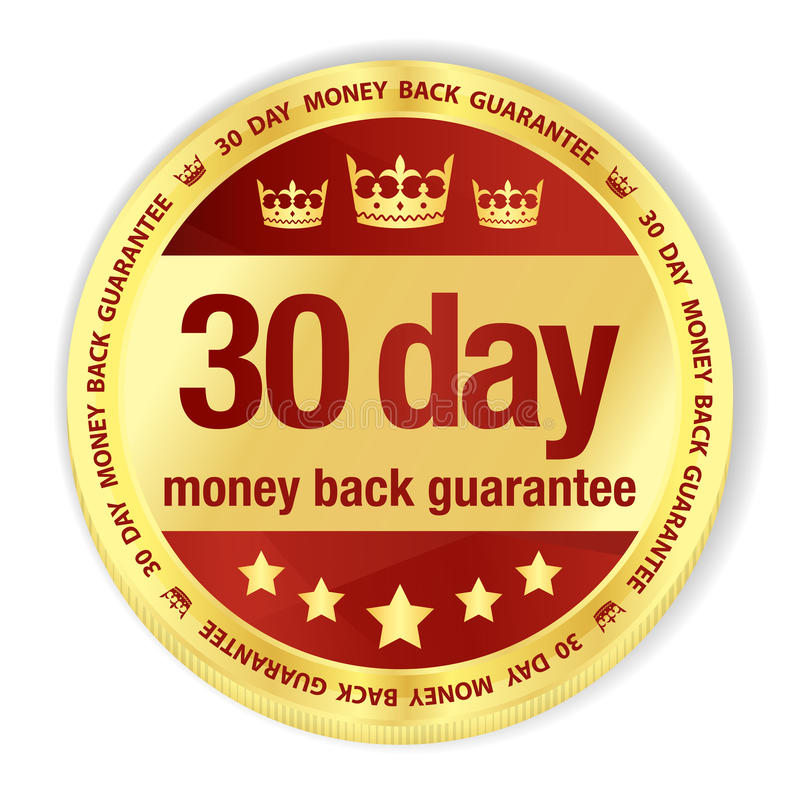 Golden badge with red fill and 30 day money back g stock illustration