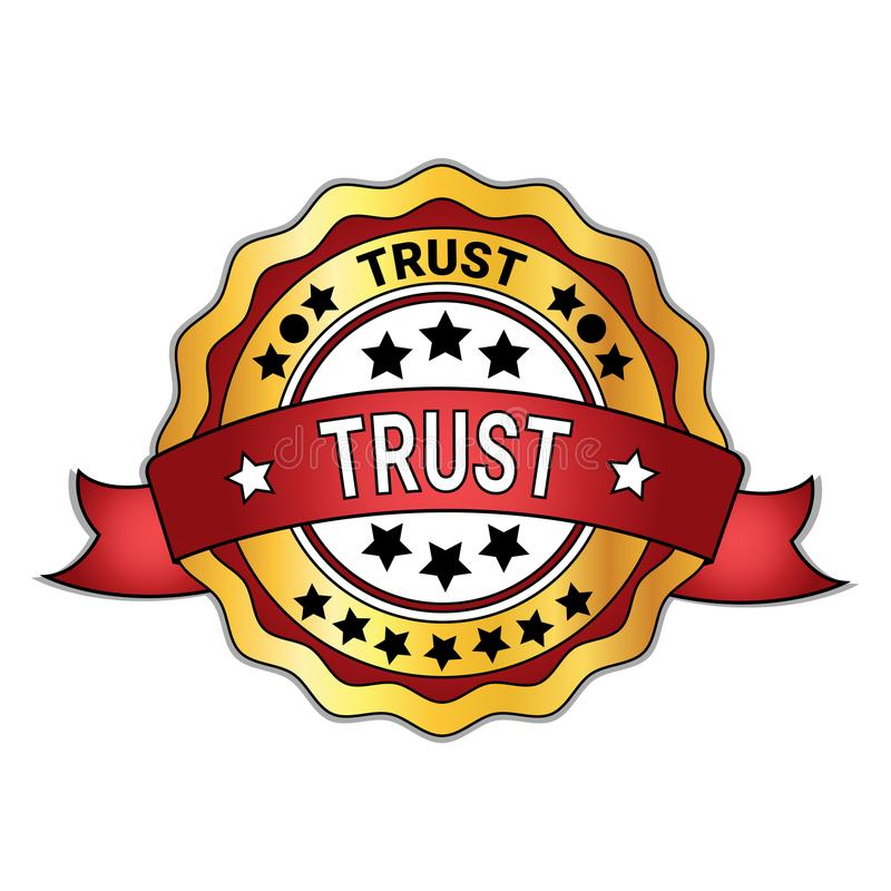Golden Badge Trust Sticker Isolated On White Background Guarantee Sign. Vector Illustration royalty free illustration