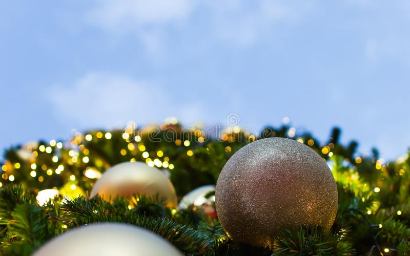 Golden Ball in Christmas on Christmas tree. royalty free stock images