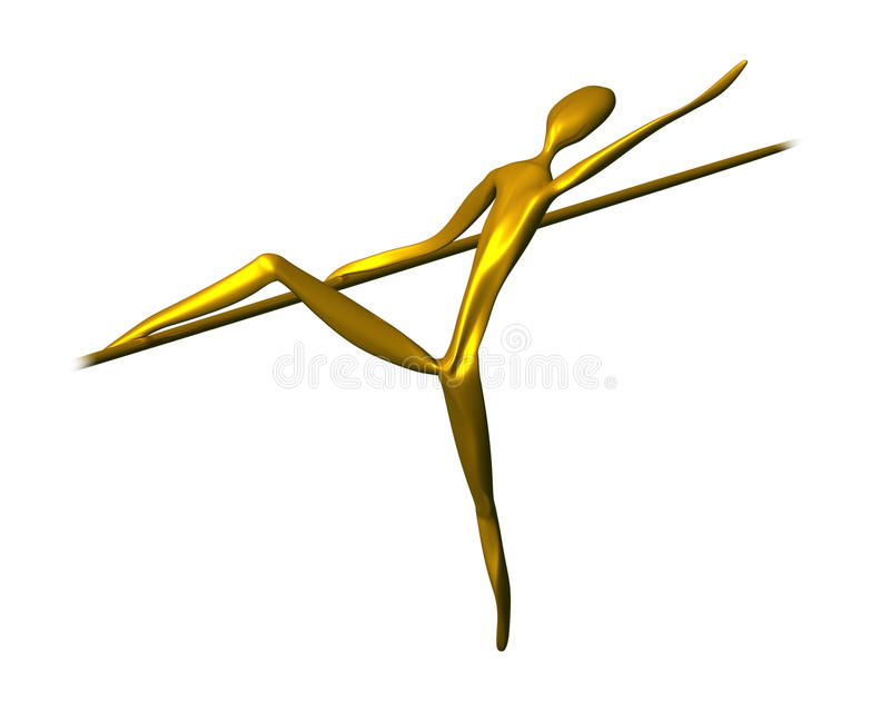 Golden ballet dancer vector illustration