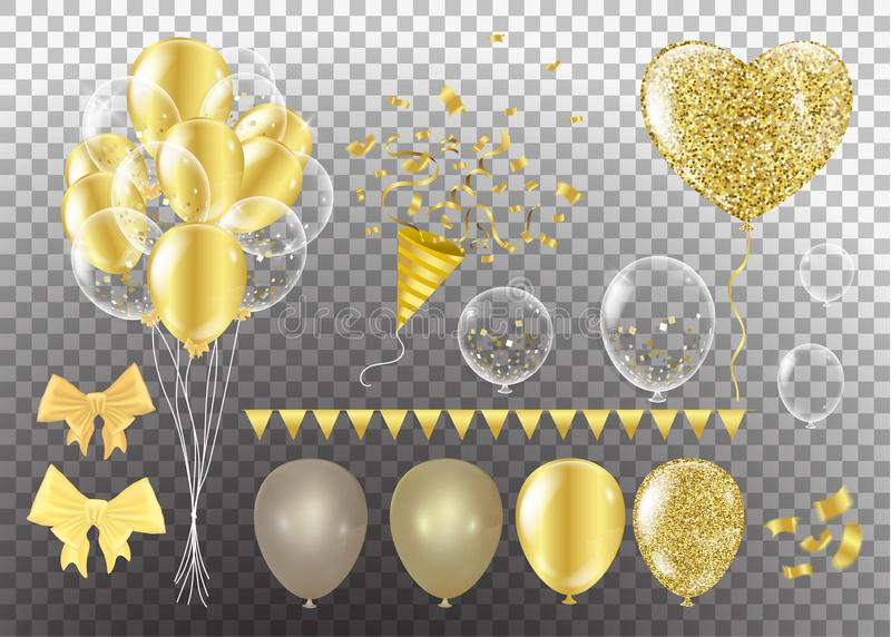 Golden balloons in the shape of a heart on a background the shape of a heart on a white background stock illustration