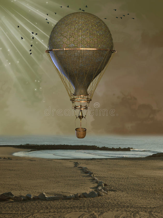 Golden baloon. In the beach royalty free stock photography