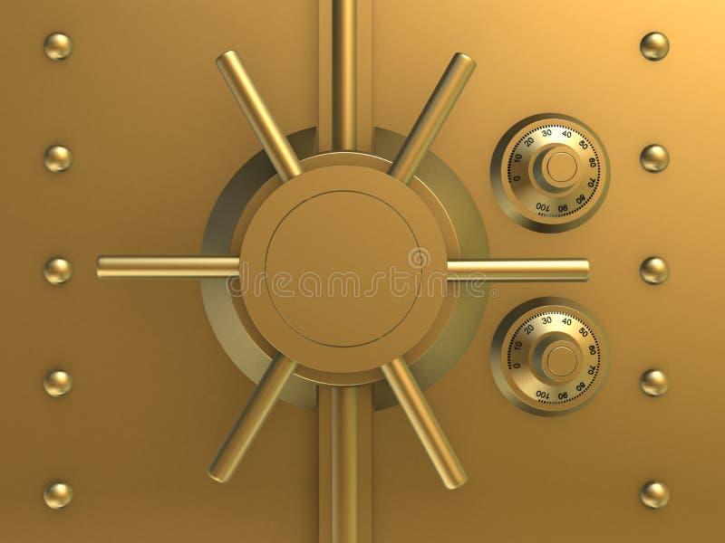 Golden bank safe vector illustration