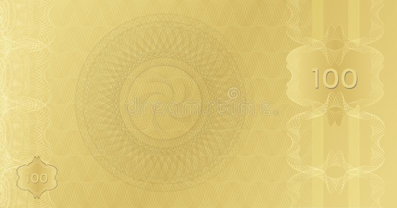Golden Banknote template 100 with guilloche pattern watermarks border. Expensive Gift certificate Voucher. Background usable for stock images