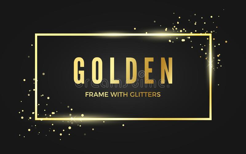 Golden banner frame with shiny sparcles. Gold frame with space for text. Vector illustration isolated on dark background.  stock illustration