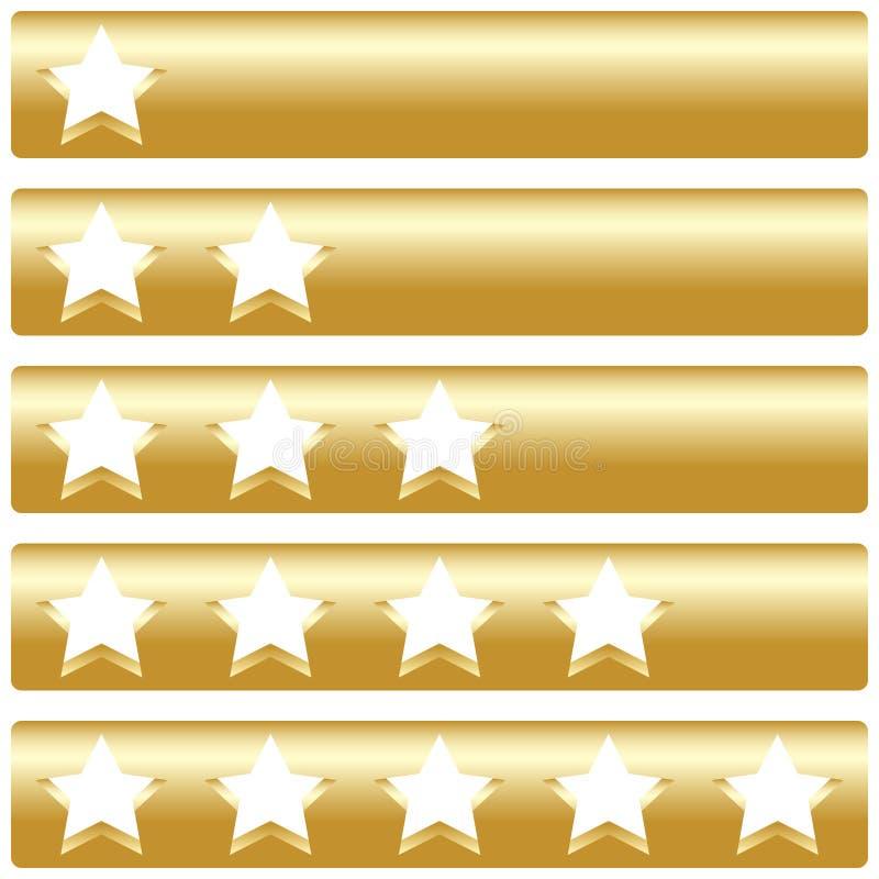 Golden bar with five rating stars. Vector illustration royalty free illustration