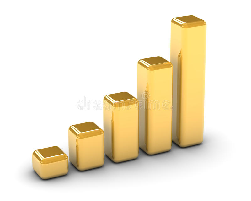 Golden Bar Graph. On a white background. Part of a series vector illustration