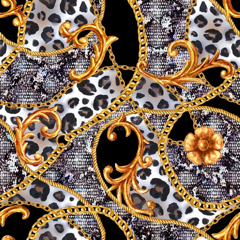 Free Golden Baroque Chain Glamour Leopard Seamless Pattern. Watercolor Hand Drawn Fashion Gold And Animal Texture Royalty Free Stock Photography - 149562617
