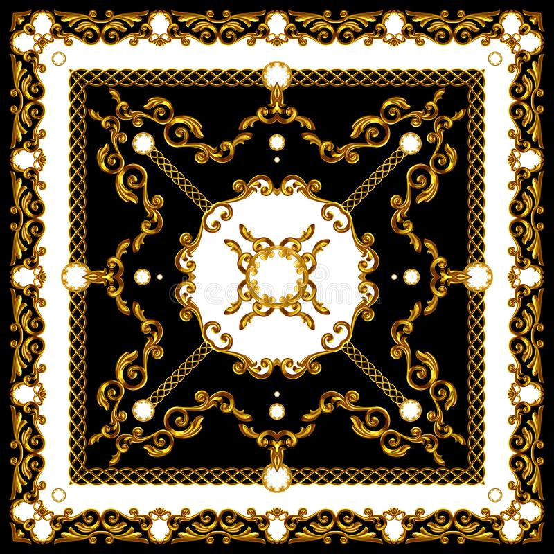 Golden Baroque with Chains on Black and White Background. Ready for Textile Prints. Silk Scarf Pattern. N vector illustration