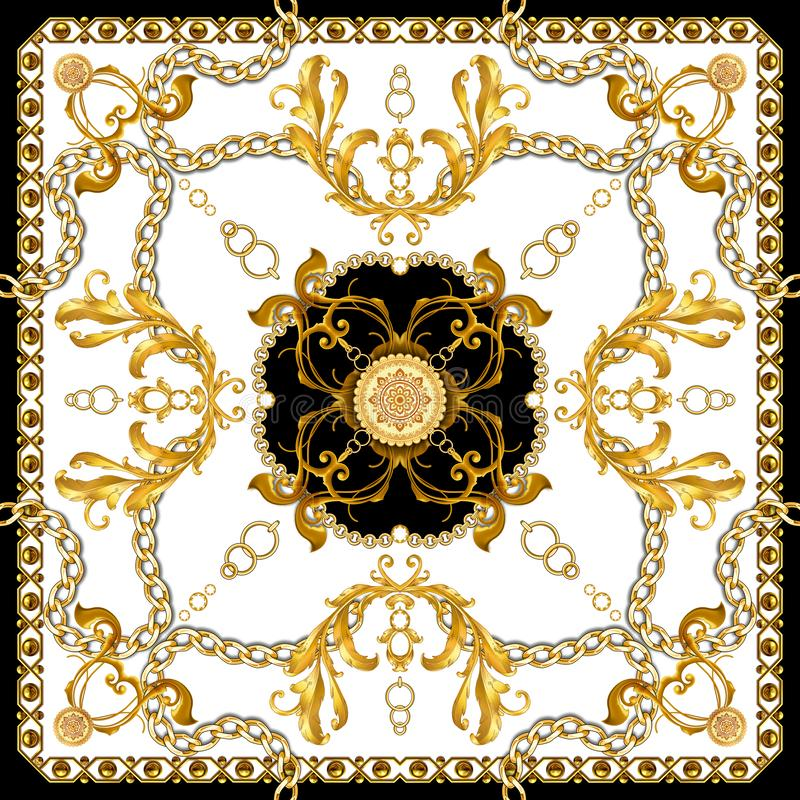 Golden Baroque with Chains on White Background. Ready for Textile Prints. Silk Scarf Pattern. Golden Baroque with Chains on White Background vector illustration