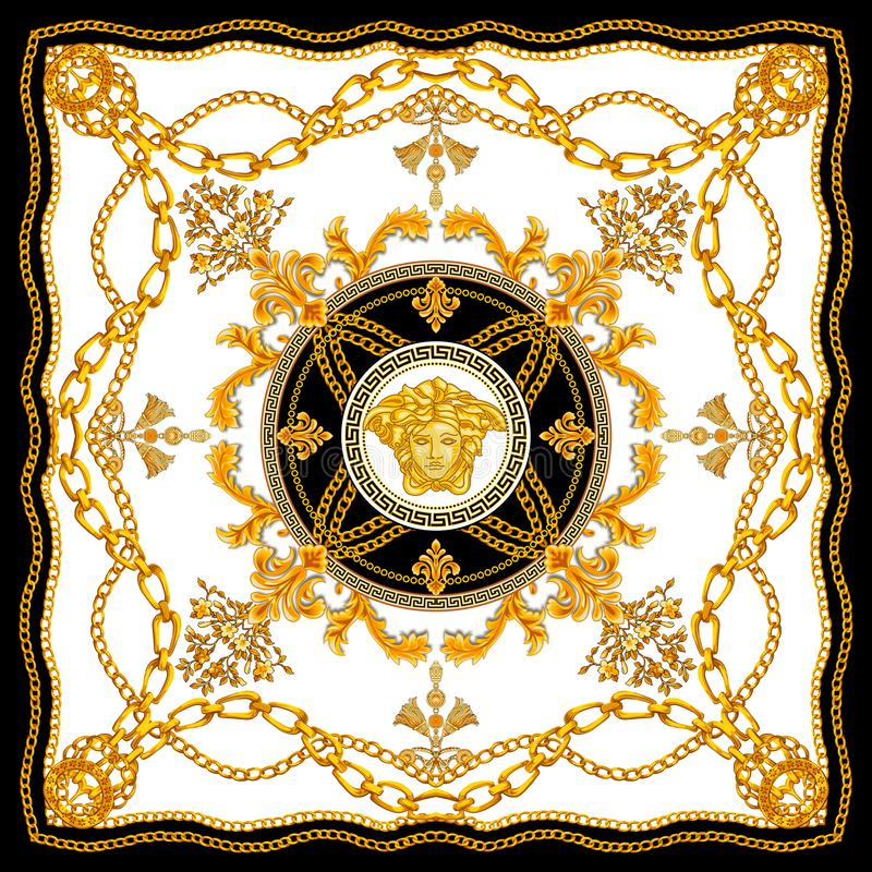 Golden Baroque with Chains on White Background. Versace Style Pattern Ready for Textile. Scarf Design for Silk Print. N vector illustration