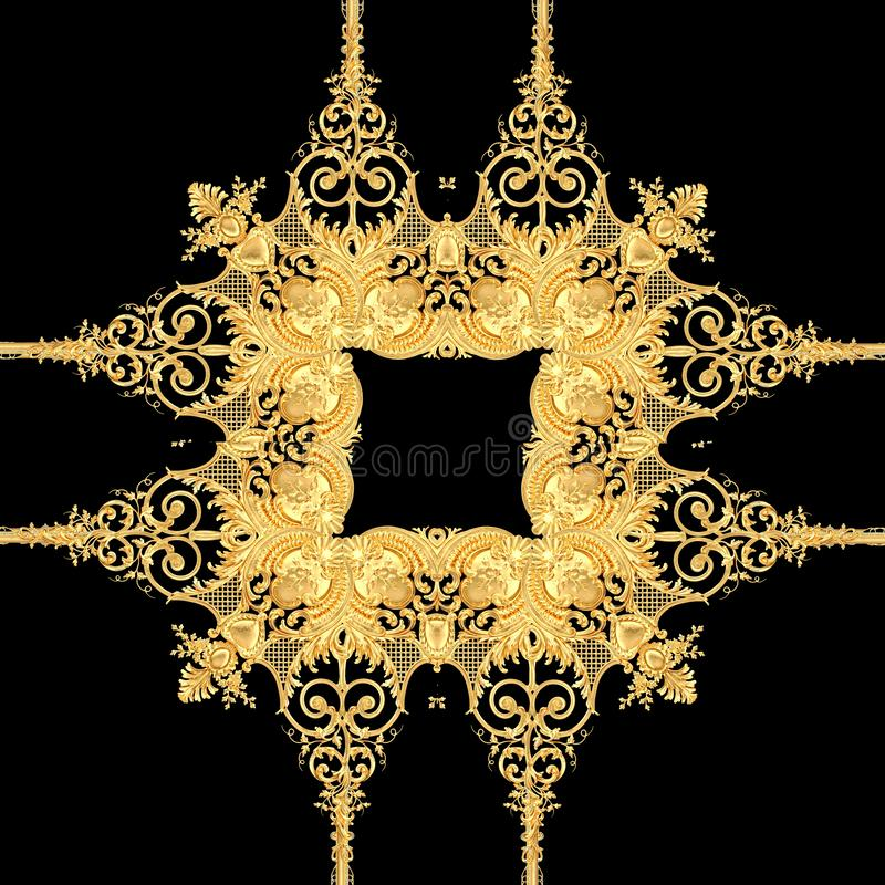 Golden baroque gold and black white color scarf pattern vector illustration